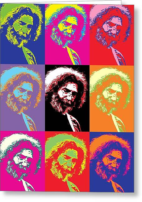 Mary Mixed Media Greeting Cards - Jerry Garcia Pop Art Collage Greeting Card by Dan Sproul