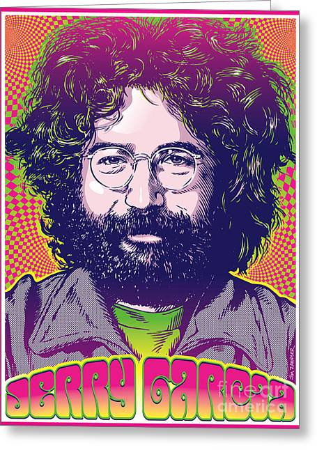 Monterey Greeting Cards - Jerry Garcia Pop Art Greeting Card by Jim Zahniser