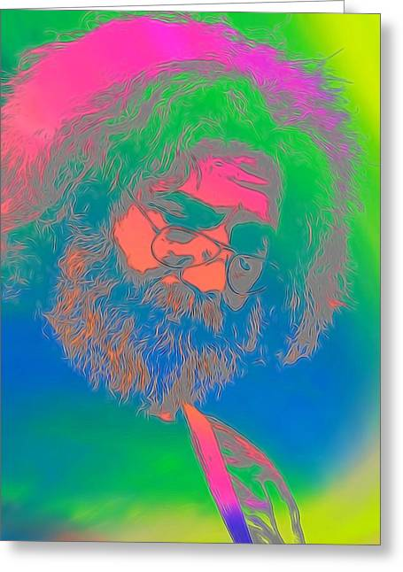 Mary Mixed Media Greeting Cards - Jerry Garcia Tie Dye Greeting Card by Dan Sproul