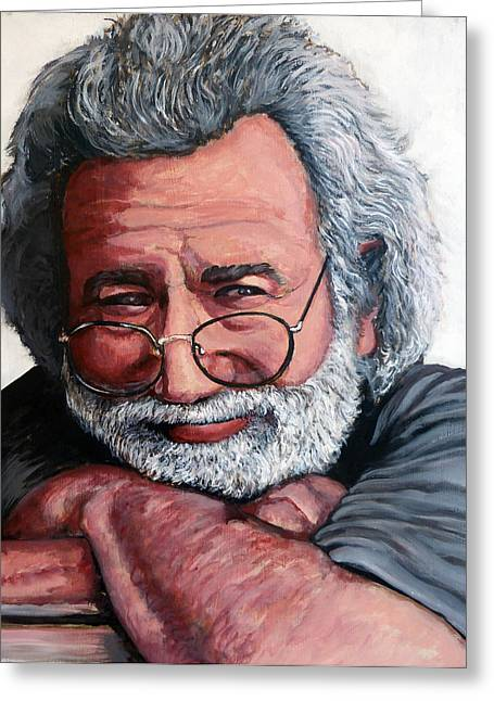 Celebrity Portrait Greeting Cards - Jerry Garcia Greeting Card by Tom Roderick
