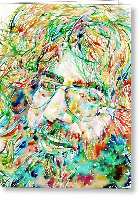 Grateful Dead Greeting Cards - JERRY GARCIA watercolor portrait.1 Greeting Card by Fabrizio Cassetta