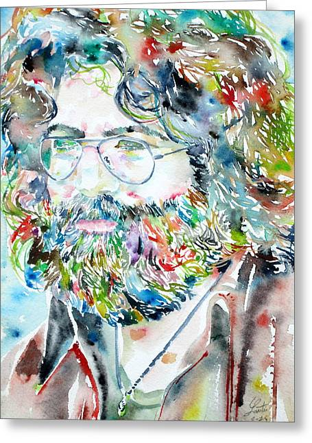 Jerry Garcia Greeting Cards - JERRY GARCIA watercolor portrait.2 Greeting Card by Fabrizio Cassetta