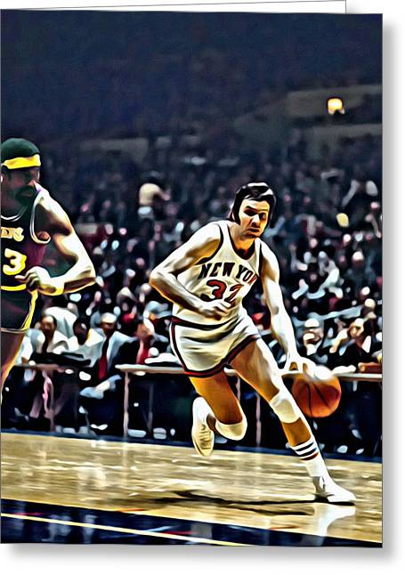 Knicks Greeting Cards - Jerry Lucas Greeting Card by Florian Rodarte