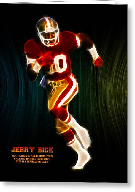Playoff Greeting Cards - Jerry Rice Greeting Card by Aged Pixel