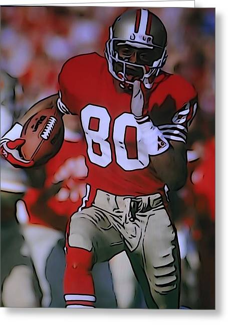 Jerry Rice Greeting Cards - Jerry Rice Greeting Card by Dan Sproul