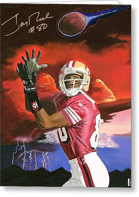 Jerry Rice Greeting Cards - Jerry Rice Greeting Card by Jeff Gomez