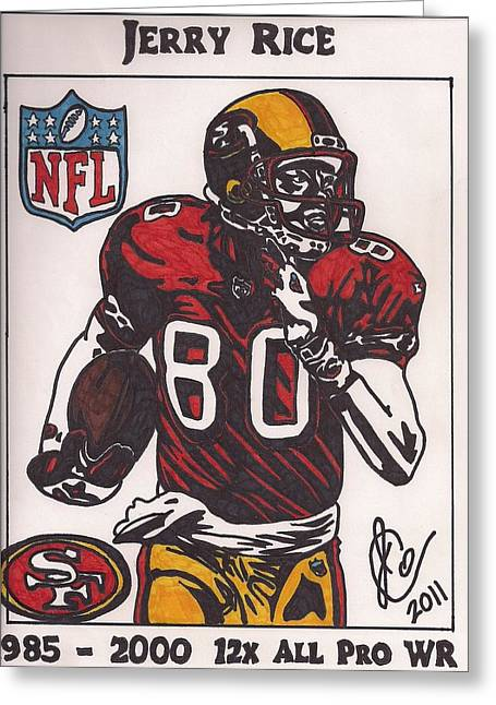Jerry Rice Greeting Cards - Jerry Rice Greeting Card by Jeremiah Colley