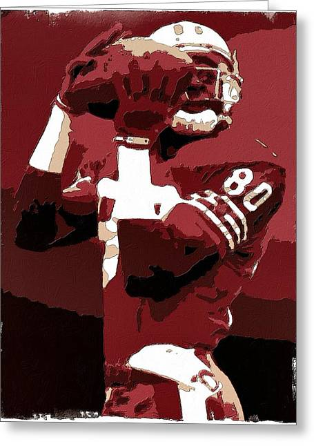 Jerry Rice Greeting Cards - Jerry Rice Poster Art Greeting Card by Florian Rodarte