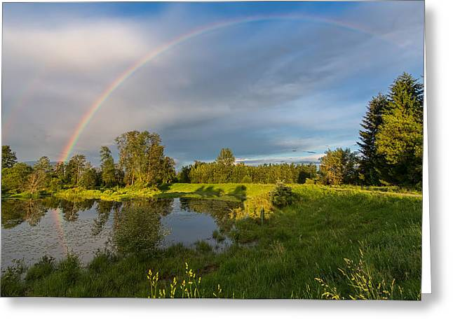Double Rainbow Greeting Cards - Jerry Sulina Park Rainbow Greeting Card by James Wheeler