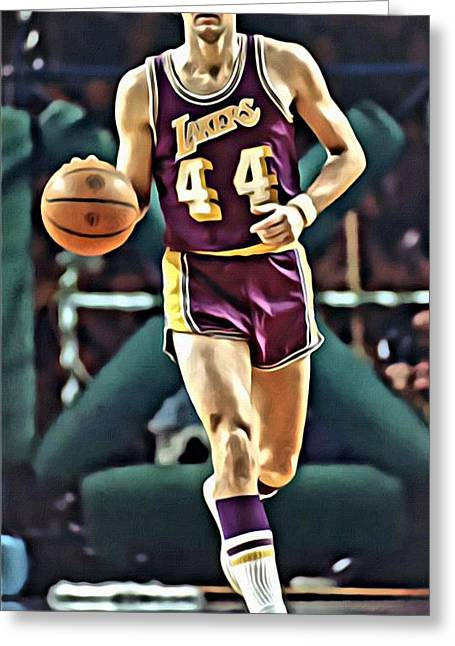 Lakers Greeting Cards - Jerry West Greeting Card by Florian Rodarte