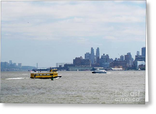 City Buildings Tapestries - Textiles Greeting Cards - Jersey City  ferry NYC Greeting Card by Ted Pollard