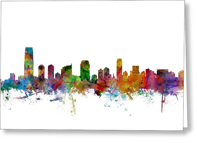 Cityscape Digital Art Greeting Cards - Jersey City New Jersey Skyline Greeting Card by Michael Tompsett