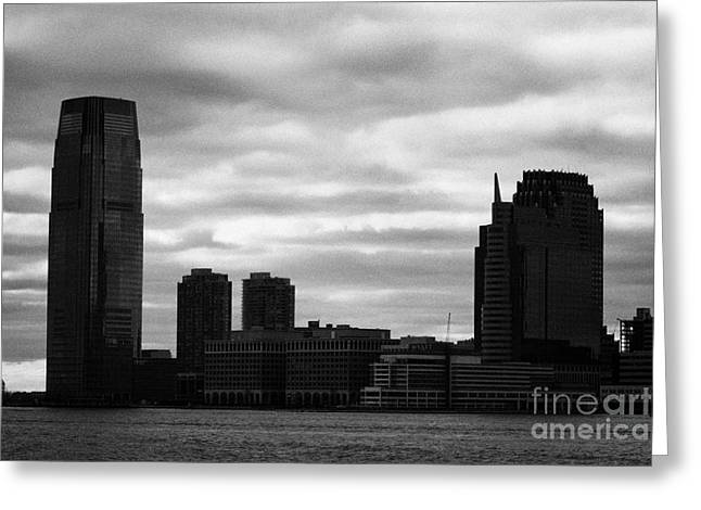 Manhatan Greeting Cards - Jersey City new jersey waterfront and 10 exchange place silhouette Greeting Card by Joe Fox