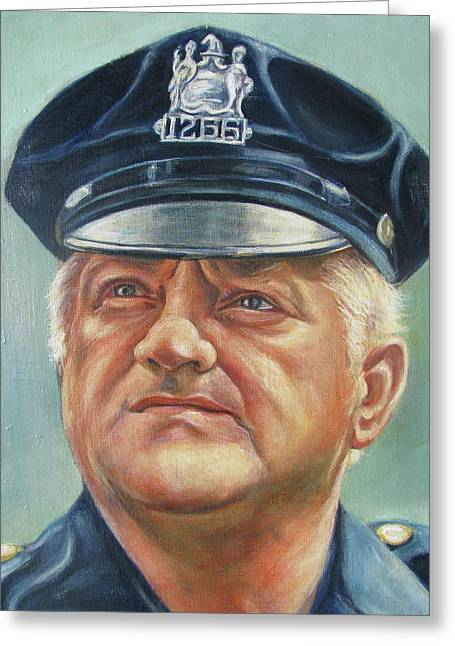 Law Enforcement Paintings Greeting Cards - Jersey City Policeman Greeting Card by Melinda Saminski