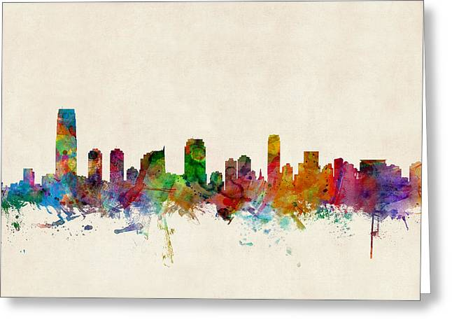 New Jersey Greeting Cards - Jersey City Skyline Greeting Card by Michael Tompsett