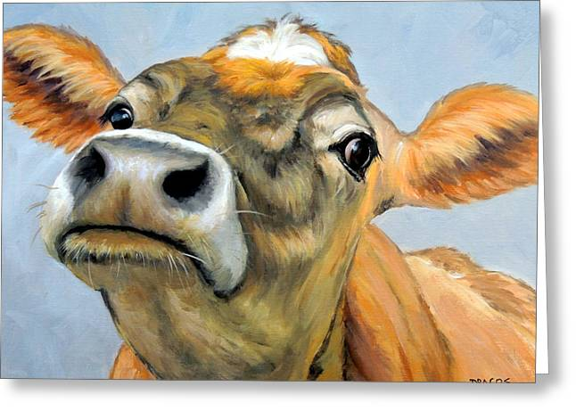 Jersey Cow Greeting Cards - Jersey Cow Curious 2 Greeting Card by Dottie Dracos