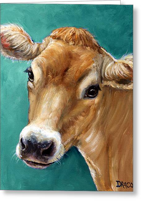 Draco Greeting Cards - Jersey Cow Tan on Teal Greeting Card by Dottie Dracos