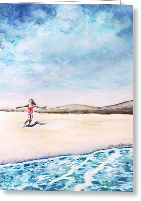 Bruce Springsteen Paintings Greeting Cards - Jersey Girl Greeting Card by Mary Fanning