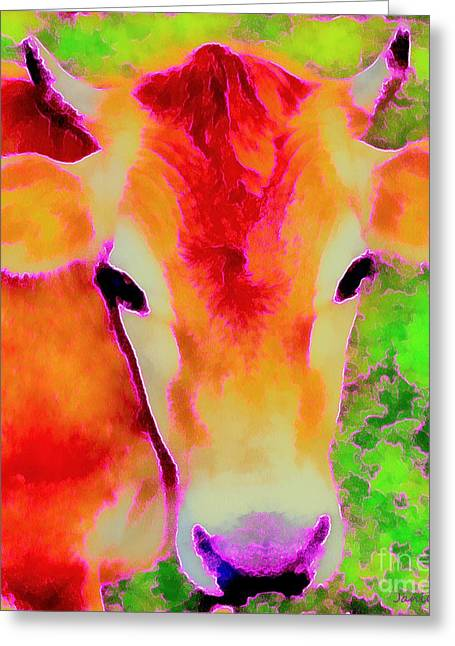 Jersey Cow Greeting Cards - Jersey Girl - Cow - Hot Pink Pop Art   Greeting Card by Janine Riley
