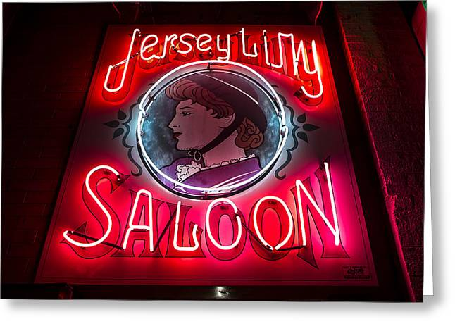 Jersey Lilly Saloon Greeting Card by John Wayland