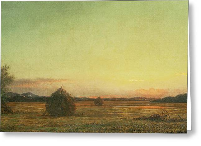 Stack Greeting Cards - Jersey Meadows Greeting Card by Martin Johnson Heade