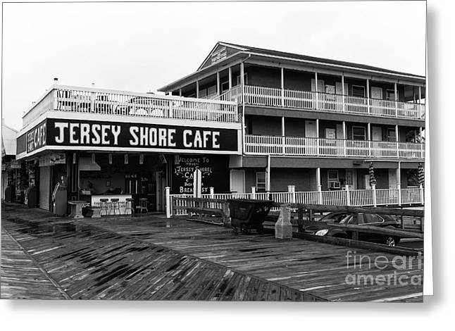 Seaside Heights Greeting Cards - Jersey Shore Cafe mono Greeting Card by John Rizzuto