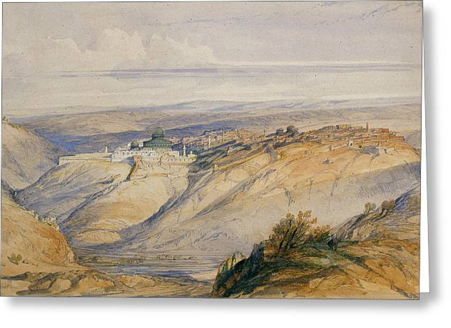 Landscape Drawings Greeting Cards - Jerusalem, 1845 Greeting Card by David Roberts