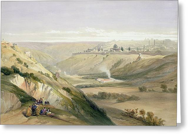 Wall City Prints Greeting Cards - Jerusalem April 5th 1839 Greeting Card by David Roberts