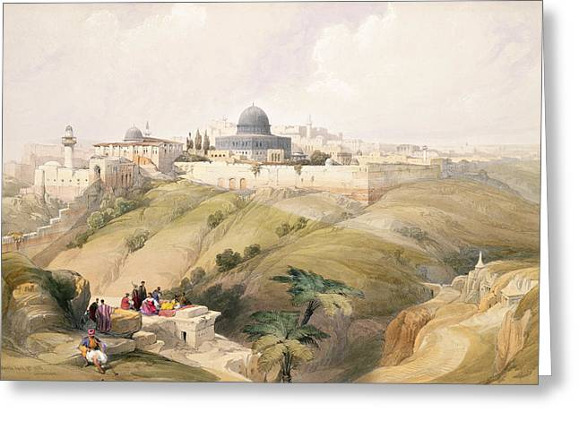 Wall City Prints Greeting Cards - Jerusalem, April 9th 1839, Plate 16 Greeting Card by David Roberts