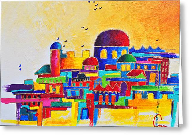 Shemini Atzeret Greeting Cards - Jerusalem Greeting Card by Dawnstarstudios