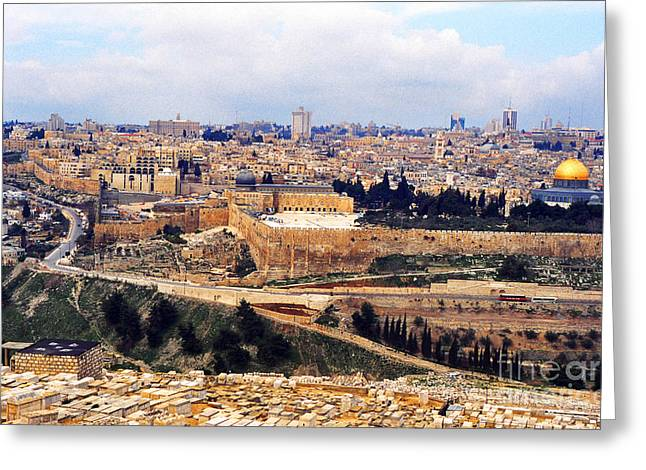 Olives Photographs Greeting Cards - Jerusalem from Mount Olive Greeting Card by Thomas R Fletcher