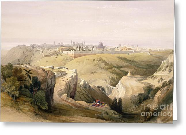 Wall City Prints Greeting Cards - Jerusalem from the Mount of Olives Greeting Card by David Roberts