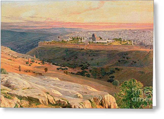 Calm Paintings Greeting Cards - Jerusalem from the Mount of Olives Greeting Card by Edward Lear