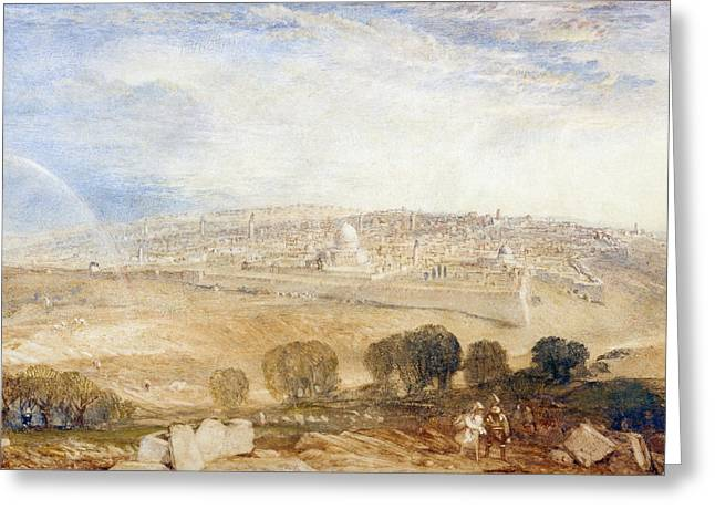 View Drawings Greeting Cards - Jerusalem From The Mount Of Olives Greeting Card by Joseph Mallord William Turner