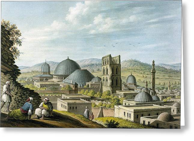 Landscape Drawings Greeting Cards - Jerusalem From The West, Pub Greeting Card by Luigi Mayer