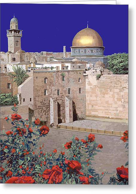 Israel Paintings Greeting Cards - Jerusalem Greeting Card by Guido Borelli