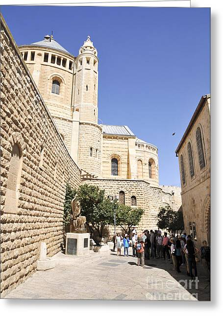 Holyland Greeting Cards - Jerusalem Hagia Maria Sion Abbey Greeting Card by Shay Levy