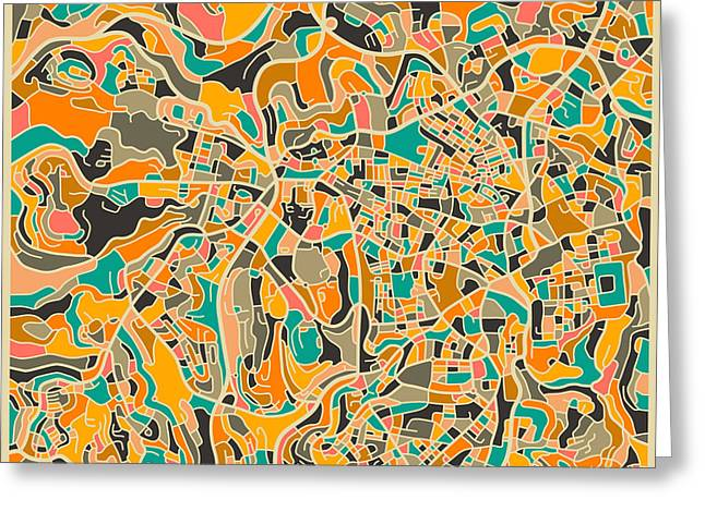 Abstract Map Greeting Cards - Jerusalem Greeting Card by Jazzberry Blue