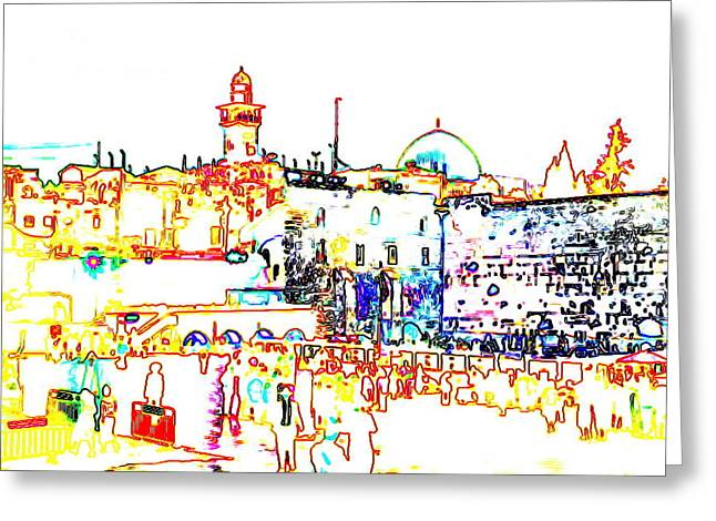 Souls Pyrography Greeting Cards - Jerusalem Greeting Card by Lara Korotenko