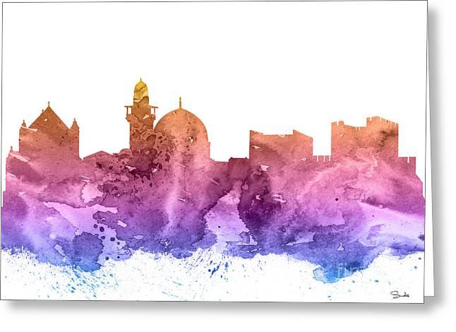 Skyline Poster Greeting Cards - Jerusalem Greeting Card by Luke and Slavi