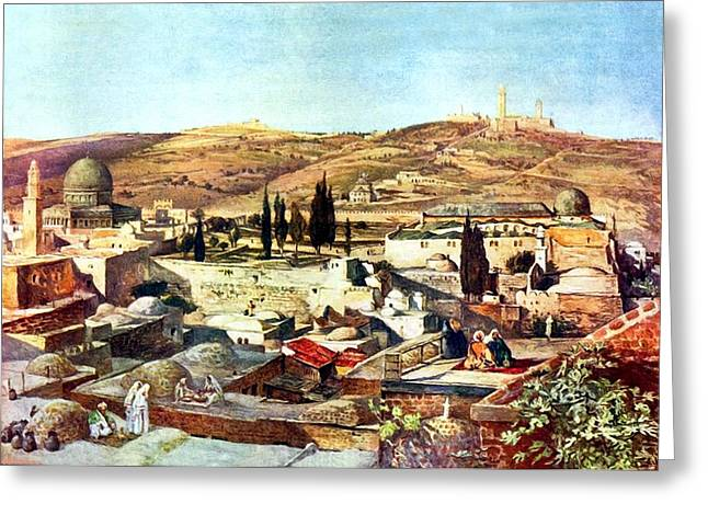 Mount Olives Greeting Cards - Jerusalem Mount Olives 1902 Greeting Card by Munir Alawi