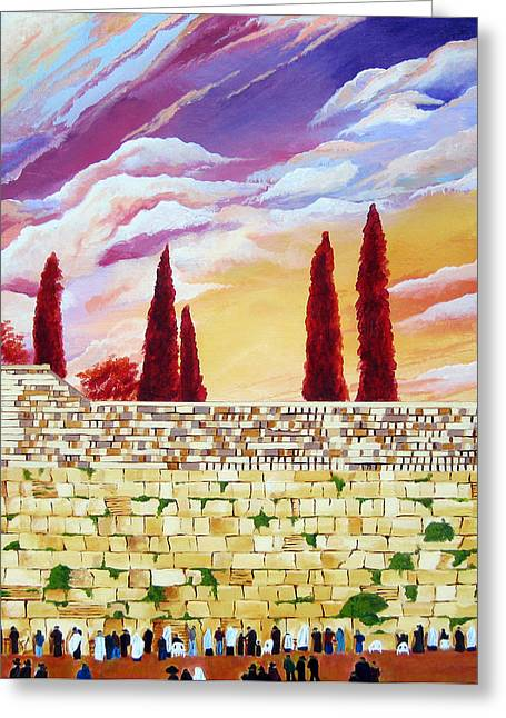 Shemini Atzeret Greeting Cards - Jerusalem Prayers Greeting Card by Dawnstarstudios