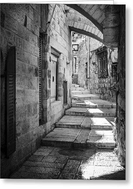 Stepping Stones Greeting Cards - Jerusalem street Greeting Card by Alexey Stiop
