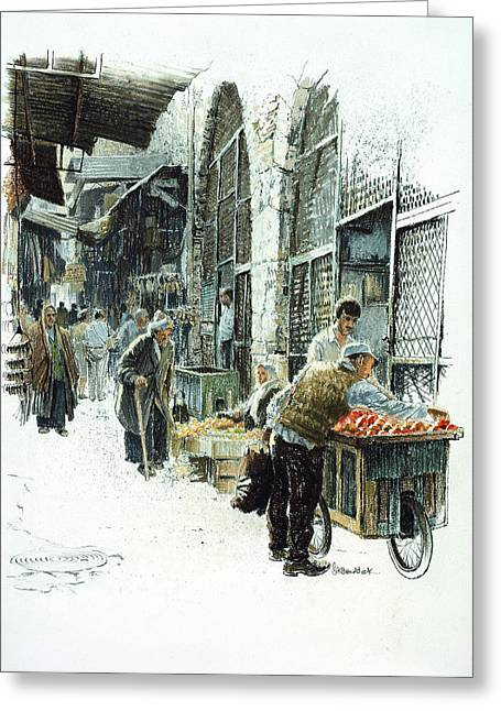Religious Art Paintings Greeting Cards - Jerusalem street Greeting Card by Graham Braddock