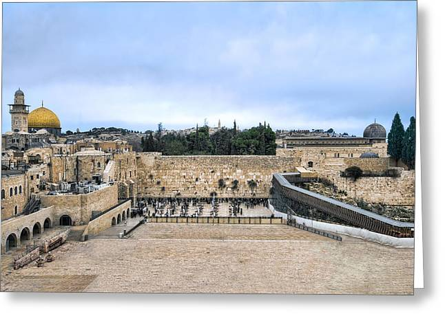 Meditative Greeting Cards - Jerusalem the western wall Greeting Card by Ron Shoshani
