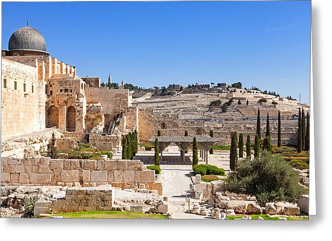 Mount Olives Greeting Cards - Jerusalem wall Greeting Card by Alexey Stiop