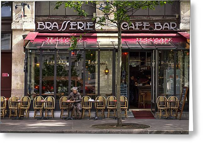 Pause Greeting Cards - Jess Cafe in Paris Greeting Card by Nomad Art And  Design
