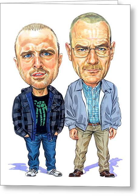 Television Paintings Greeting Cards - Jesse Pinkman and Walter White Greeting Card by Art