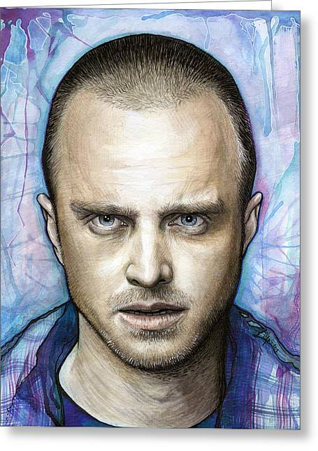 Celebrity Mixed Media Greeting Cards - Jesse Pinkman - Breaking Bad Greeting Card by Olga Shvartsur