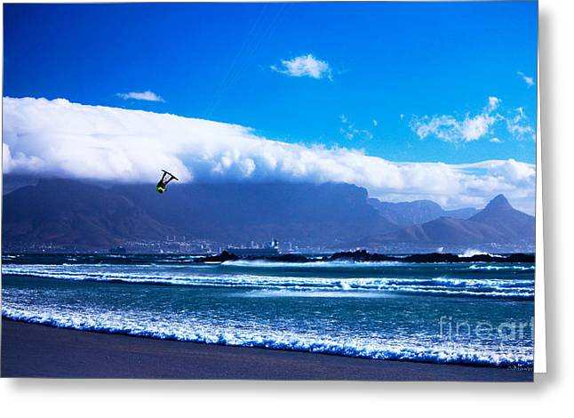 Kite Surfing Greeting Cards - Jesse - RedBull King of the Air Cape Town - Table Mountain  Greeting Card by Charl Bruwer